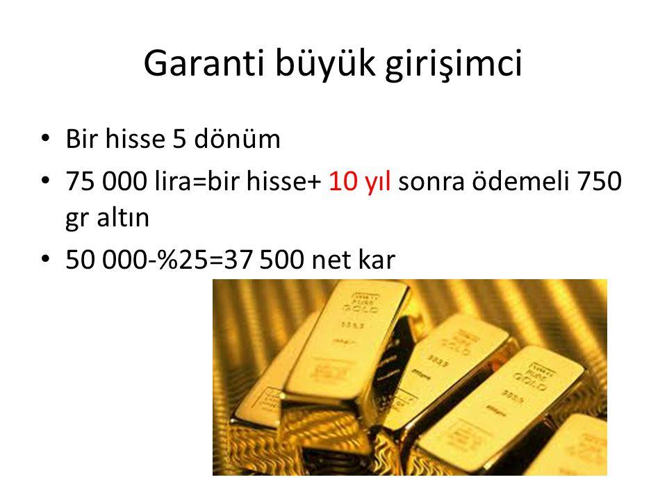 Garanti büyük girişimci Bir hisse 5 dönüm 75 000 lira=bir hisse+ 10 yıl sonra ödemeli 750 gr altın 50 000-%25=37 500 net kar