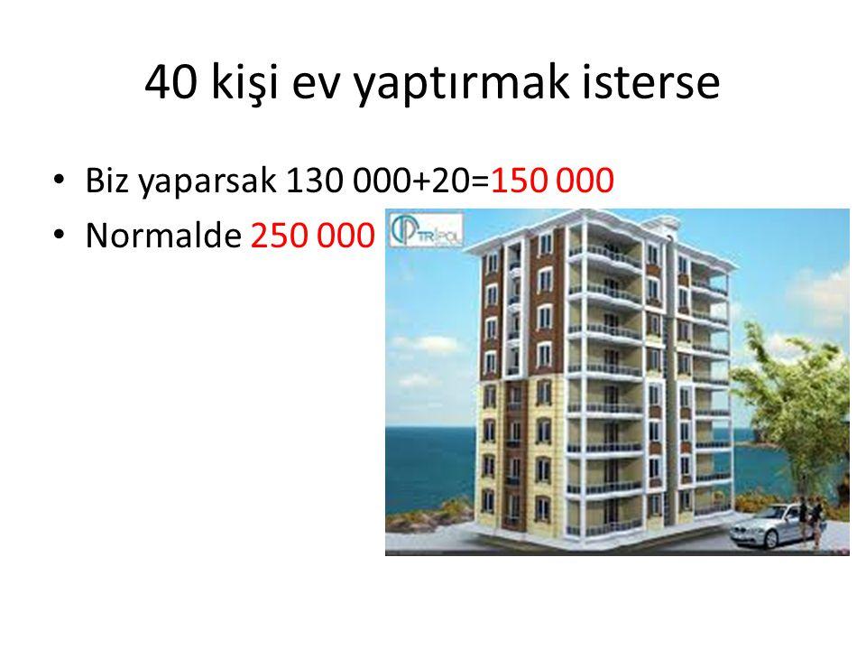 40 kişi ev yaptırmak isterse Biz yaparsak 130 000+20=150 000 Normalde 250 000