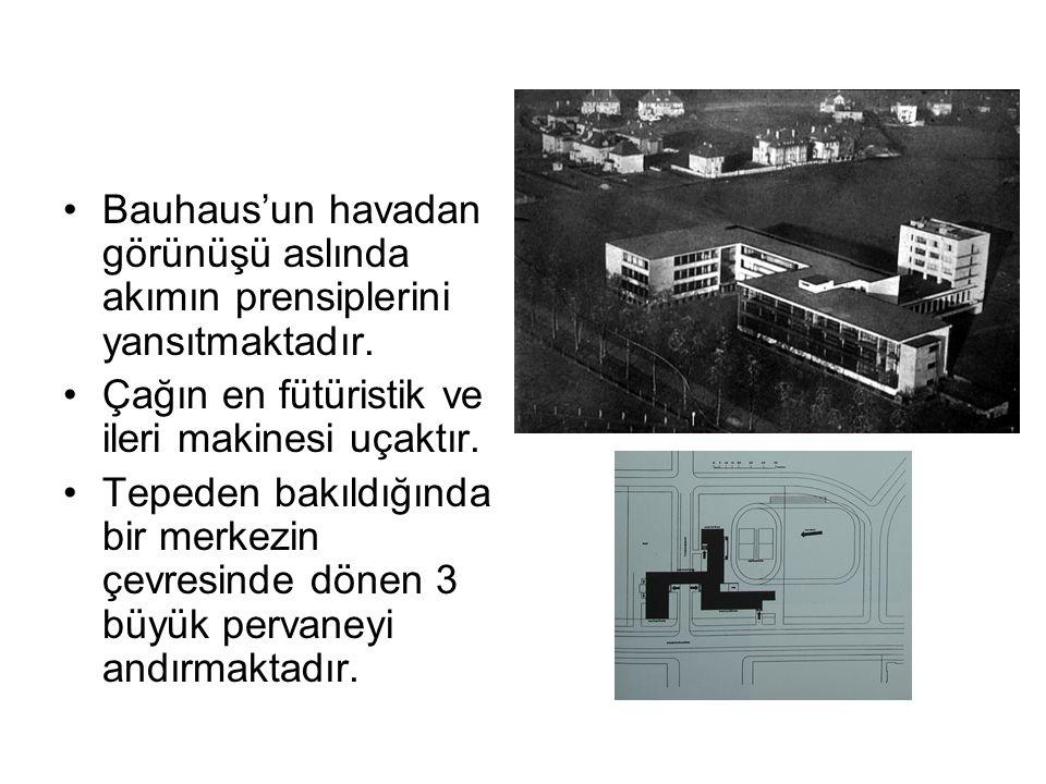 Bauhaus'un havadan görünüşü aslında akımın prensiplerini yansıtmaktadır. Çağın en fütüristik ve ileri makinesi uçaktır. Tepeden bakıldığında bir merke