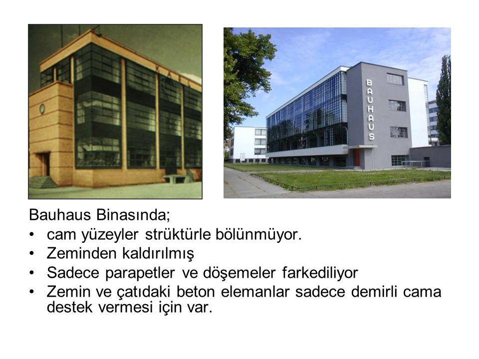 Bauhaus Binasında; cam yüzeyler strüktürle bölünmüyor.