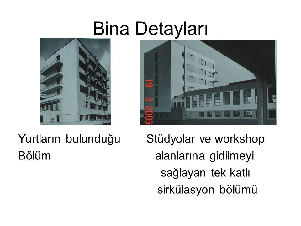 Bina Detayları Yurtların bulunduğu Stüdyolar ve workshop Bölüm alanlarına gidilmeyi sağlayan tek katlı sirkülasyon bölümü