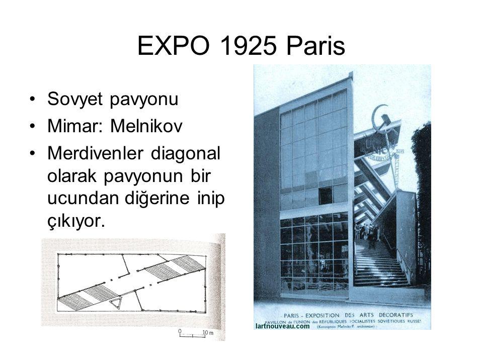 EXPO 1925 Paris Sovyet pavyonu Mimar: Melnikov Merdivenler diagonal olarak pavyonun bir ucundan diğerine inip çıkıyor.