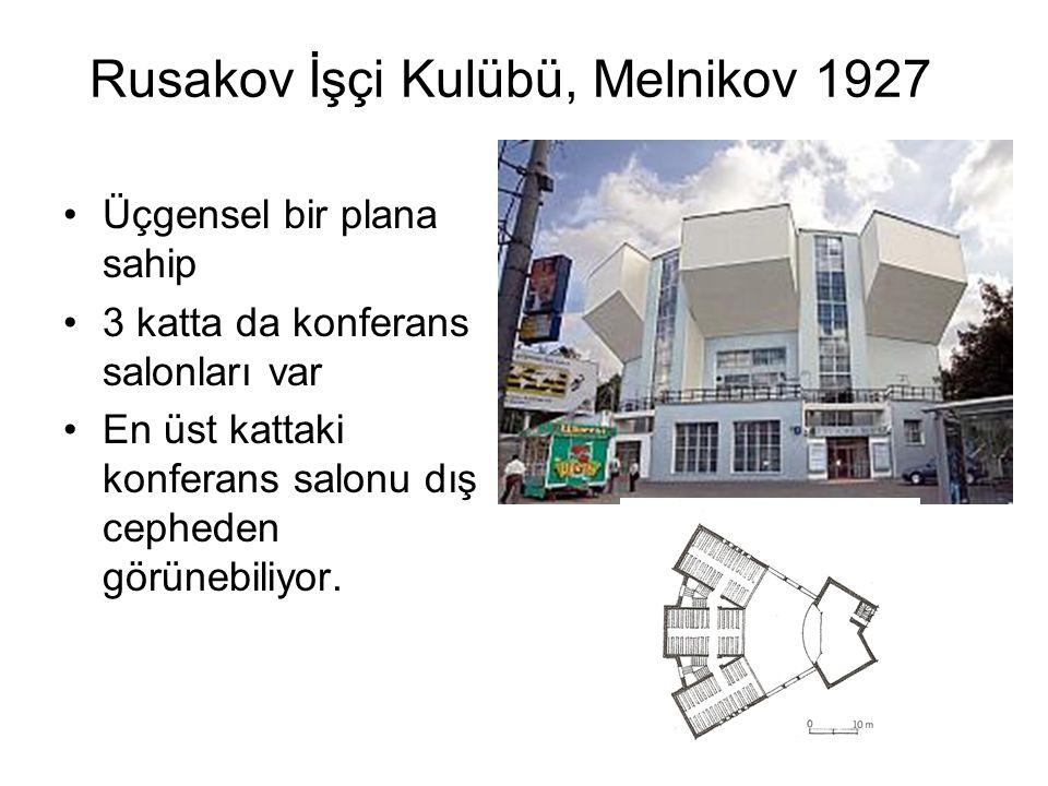 Rusakov İşçi Kulübü, Melnikov 1927 Üçgensel bir plana sahip 3 katta da konferans salonları var En üst kattaki konferans salonu dış cepheden görünebiliyor.