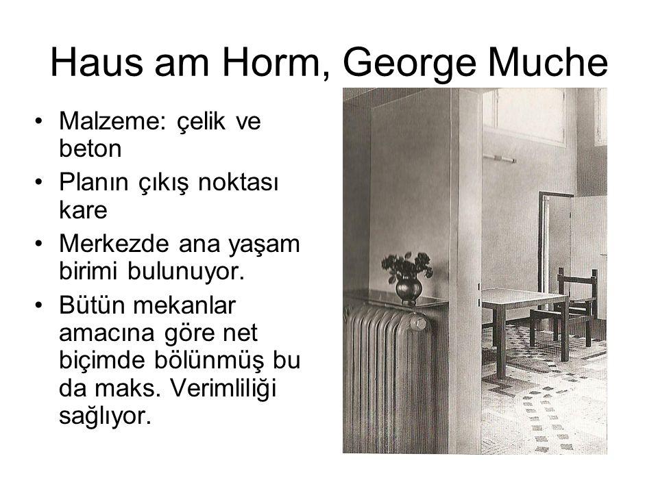 Haus am Horm, George Muche Malzeme: çelik ve beton Planın çıkış noktası kare Merkezde ana yaşam birimi bulunuyor. Bütün mekanlar amacına göre net biçi