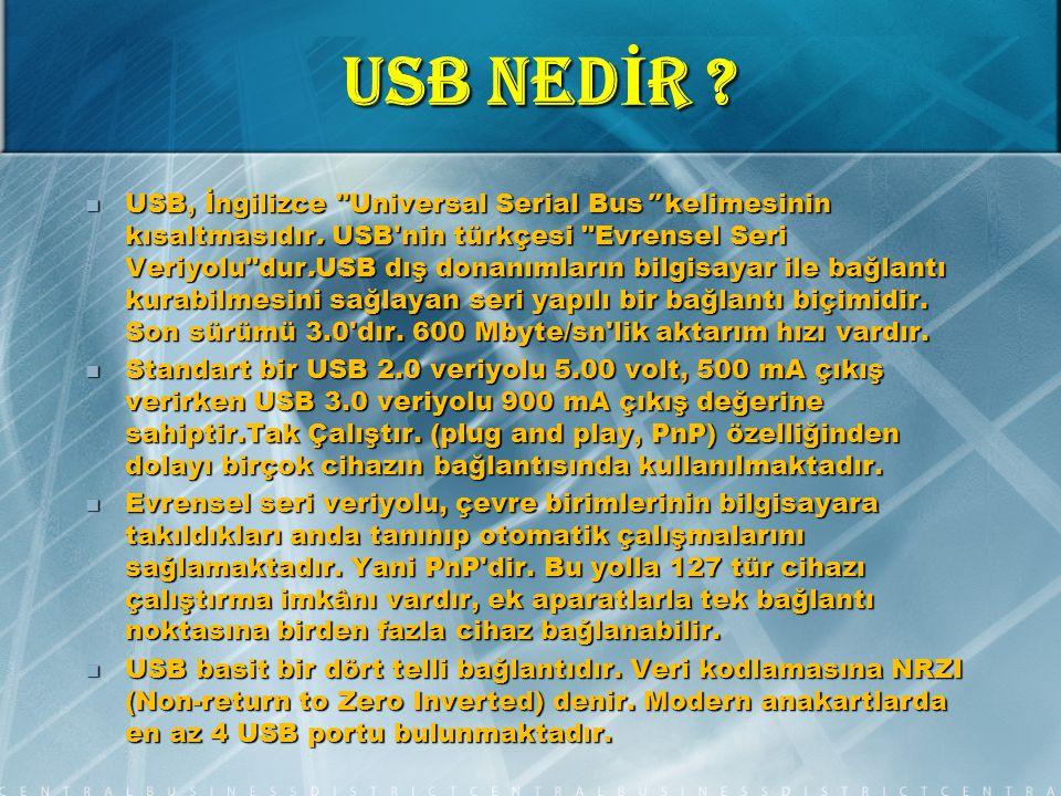 USB NED İ R .USB, İngilizce Universal Serial Bus kelimesinin kısaltmasıdır.