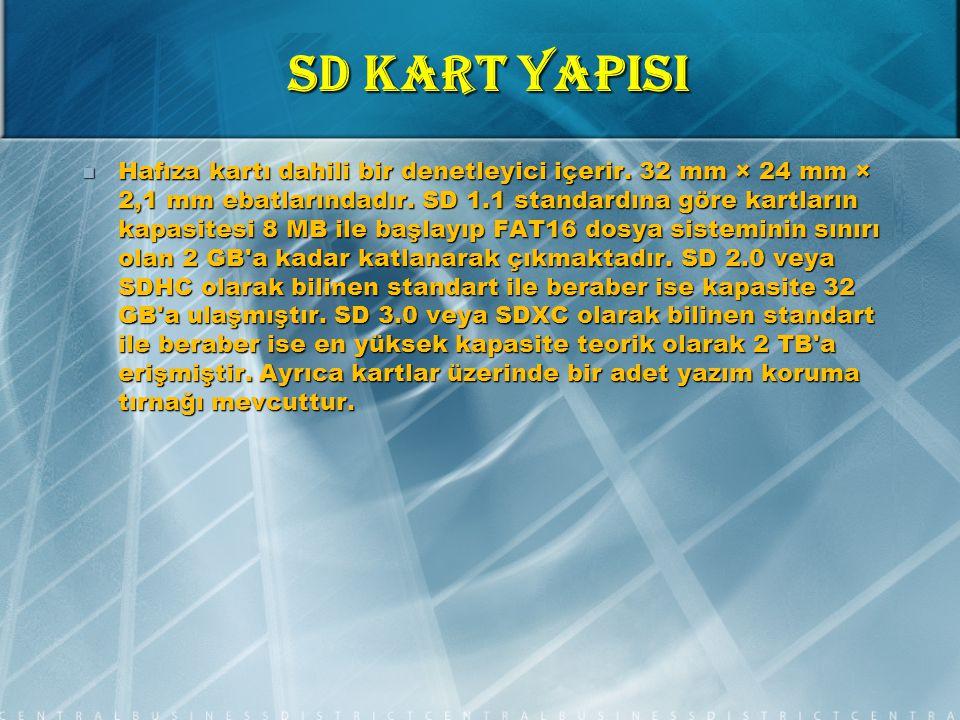 SD KART YAPISI Hafıza kartı dahili bir denetleyici içerir.