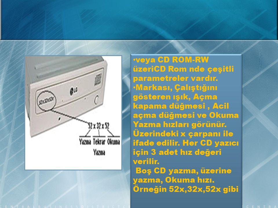 veya CD ROM-RW üzeriCD Rom nde çeşitli parametreler vardır.