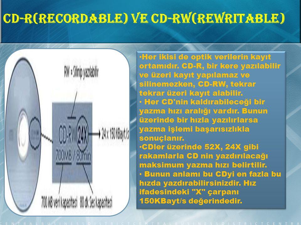 CD-R(Recordable) ve CD-RW(ReWritable) Her ikisi de optik verilerin kayıt ortamıdır.