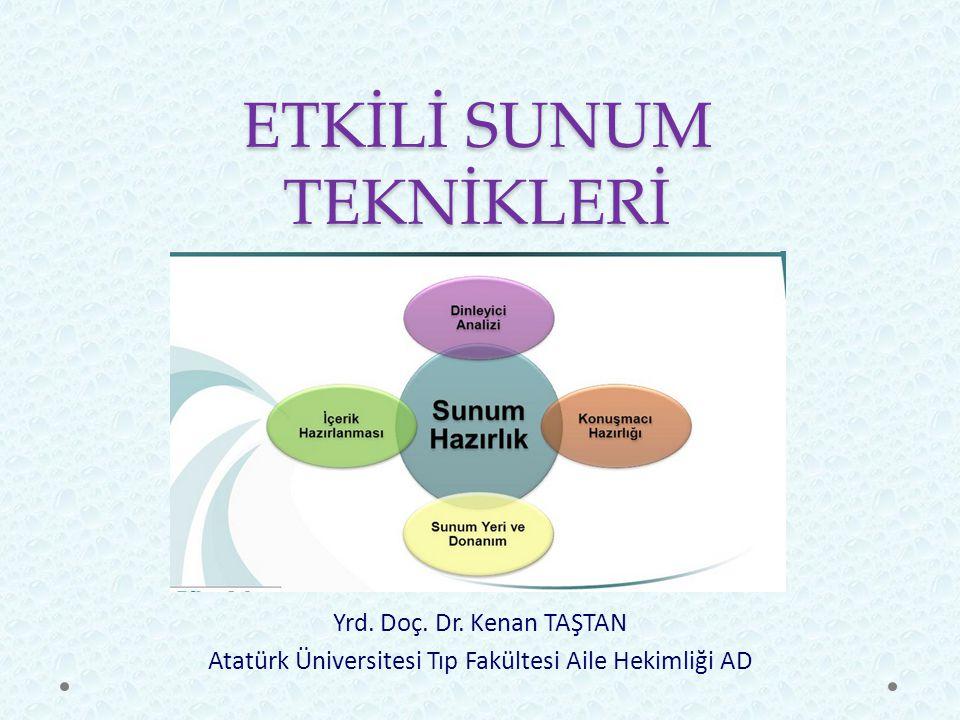 ETKİLİ SUNUM TEKNİKLERİ Yrd. Doç. Dr. Kenan TAŞTAN Atatürk Üniversitesi Tıp Fakültesi Aile Hekimliği AD