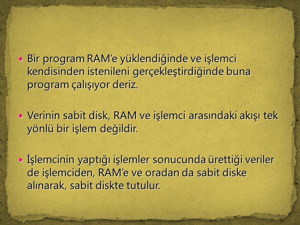 Bir program RAM'e yüklendiğinde ve işlemci kendisinden istenileni gerçekleştirdiğinde buna program çalışıyor deriz. Bir program RAM'e yüklendiğinde ve