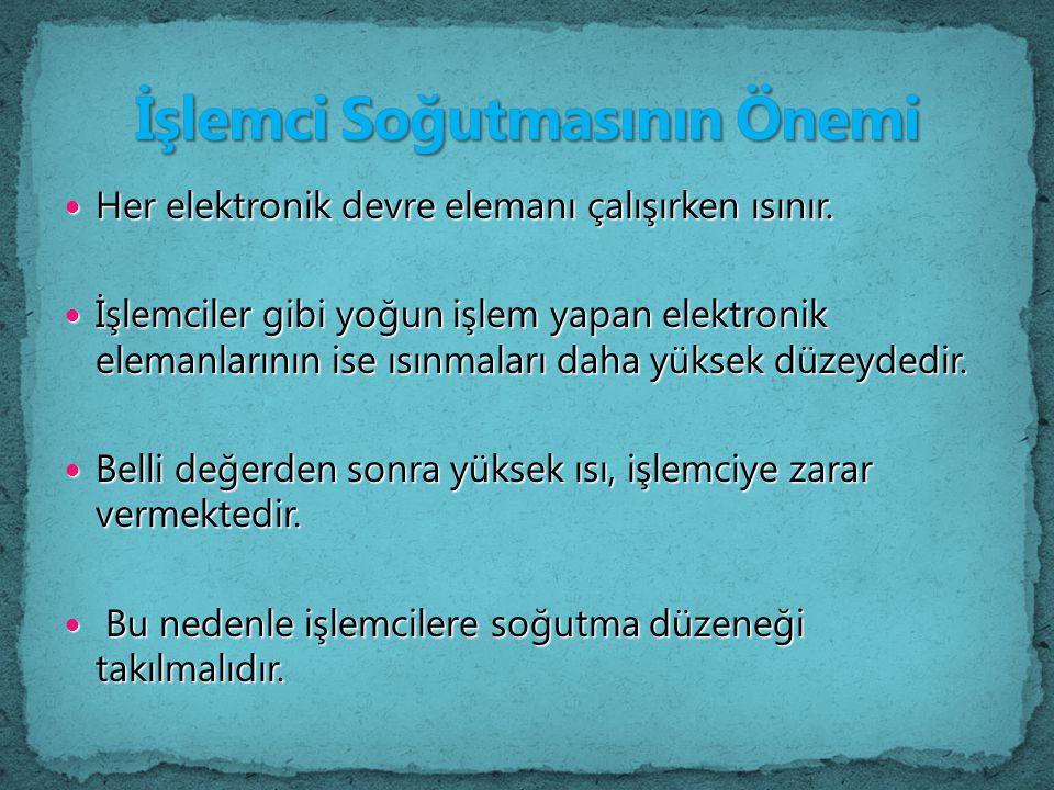 Her elektronik devre elemanı çalışırken ısınır. Her elektronik devre elemanı çalışırken ısınır. İşlemciler gibi yoğun işlem yapan elektronik elemanlar