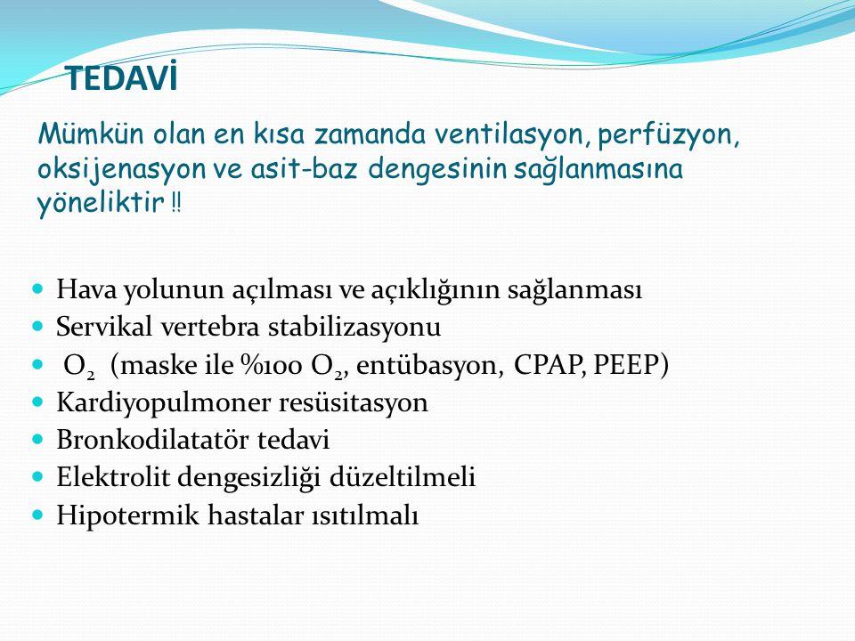 TEDAVİ Hava yolunun açılması ve açıklığının sağlanması Servikal vertebra stabilizasyonu O 2 (maske ile %100 O 2, entübasyon, CPAP, PEEP) Kardiyopulmon