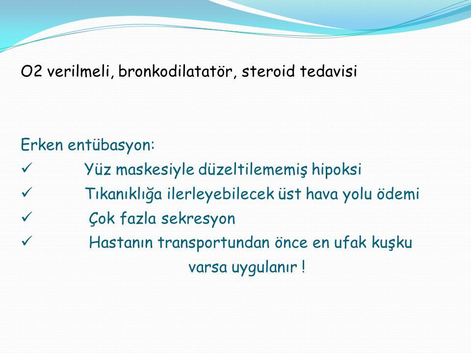 O2 verilmeli, bronkodilatatör, steroid tedavisi Erken entübasyon: Yüz maskesiyle düzeltilememiş hipoksi Tıkanıklığa ilerleyebilecek üst hava yolu ödem