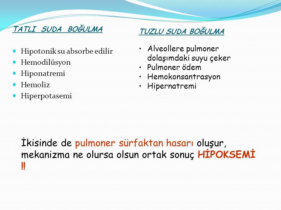 KOMPLİKASYONLAR Pulmoner hasar ( ARDS ) Asidoz ( Solunumsal, metabolik ) SSS hasarı Primer kardiyak hasar Kardiyak disritmiler Böbrek yetmezliği ( ATN:Hipoksemi ve miyoglobinüri) Koagülopati, DİC Elektrolit anormallikleri