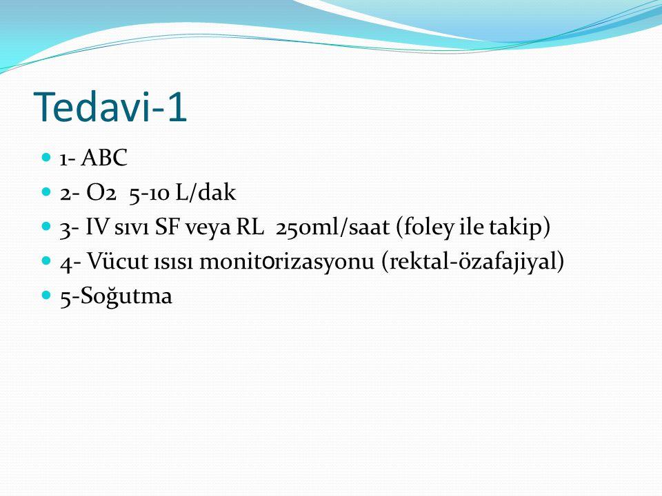 Tedavi-1 1- ABC 2- O2 5-10 L/dak 3- IV sıvı SF veya RL 250ml/saat (foley ile takip) 4- Vücut ısısı monit o rizasyonu (rektal-özafajiyal) 5-Soğutma
