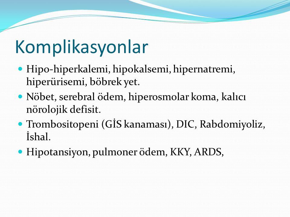 Komplikasyonlar Hipo-hiperkalemi, hipokalsemi, hipernatremi, hiperürisemi, böbrek yet. Nöbet, serebral ödem, hiperosmolar koma, kalıcı nörolojik defis