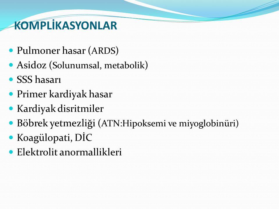 KOMPLİKASYONLAR Pulmoner hasar ( ARDS ) Asidoz ( Solunumsal, metabolik ) SSS hasarı Primer kardiyak hasar Kardiyak disritmiler Böbrek yetmezliği ( ATN