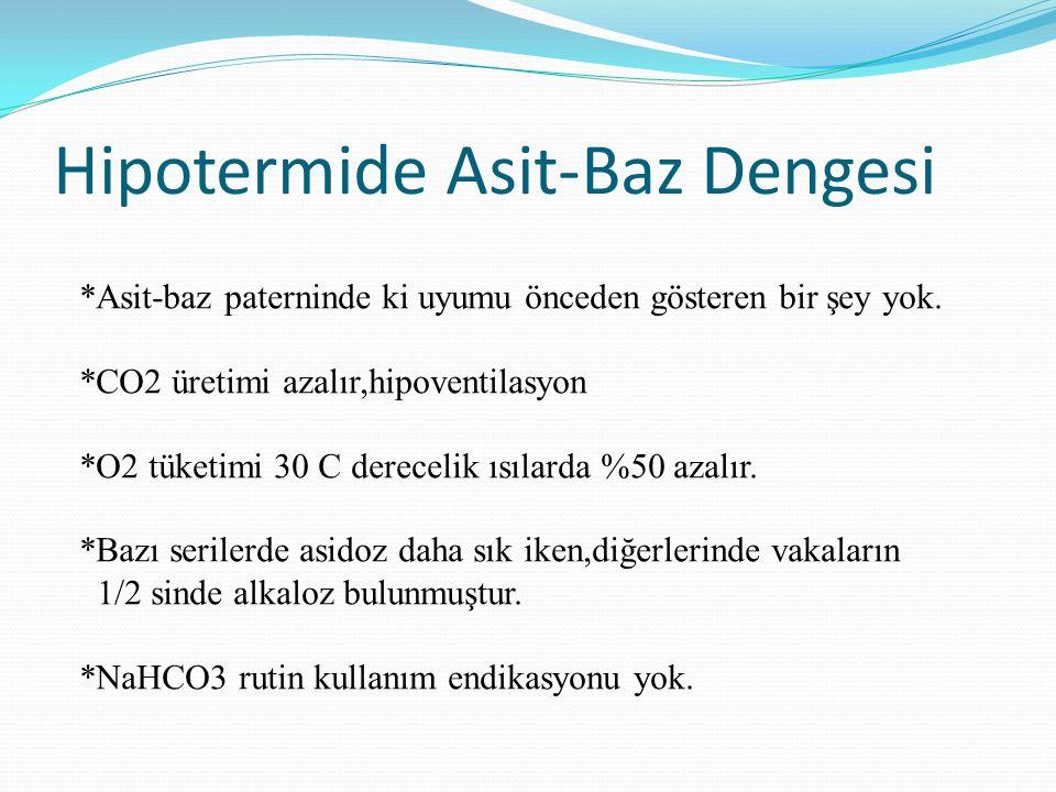 Hipotermide Asit-Baz Dengesi *Asit-baz paterninde ki uyumu önceden gösteren bir şey yok. *CO2 üretimi azalır,hipoventilasyon *O2 tüketimi 30 C derecel