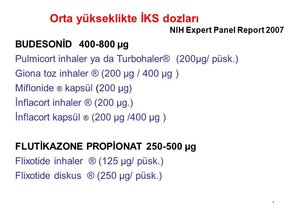 Orta yükseklikte İKS dozları BUDESONİD 400-800 µg Pulmicort inhaler ya da Turbohaler® (200µg/ püsk.) Giona toz inhaler ® (200 µg / 400 µg ) Miflonide ® kapsül (200 µg) İnflacort inhaler ® (200 µg.) İnflacort kapsül ® (200 µg /400 µg ) FLUTİKAZONE PROPİONAT 250-500 µg Flixotide inhaler ® (125 µg/ püsk.) Flixotide diskus ® (250 µg/ püsk.).