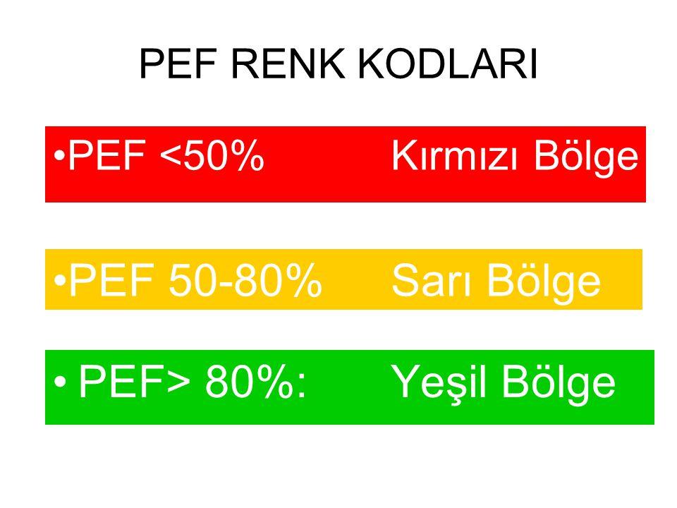 PEF RENK KODLARI PEF> 80%:Yeşil Bölge PEF 50-80%Sarı Bölge PEF <50%Kırmızı Bölge