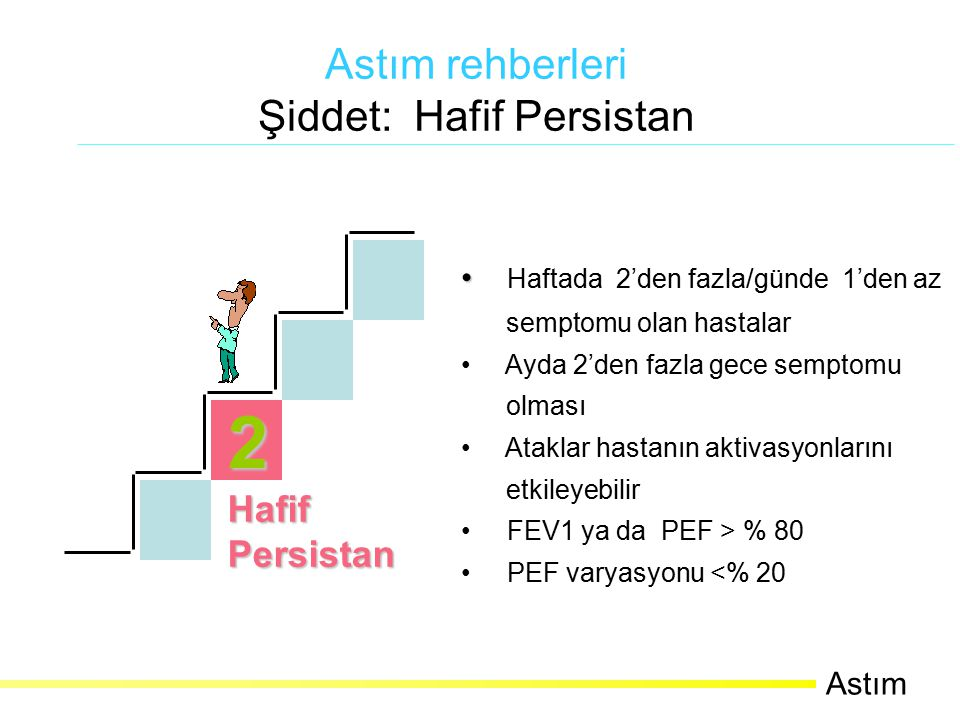 Haftada 2'den fazla/günde 1'den az semptomu olan hastalar Ayda 2'den fazla gece semptomu olması Ataklar hastanın aktivasyonlarını etkileyebilir FEV1 ya da PEF > % 80 PEF varyasyonu <% 20 2 HafifPersistan Astım rehberleri Şiddet: Hafif Persistan Astım