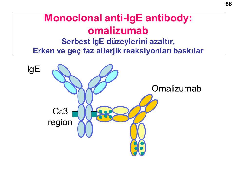 Omalizumab IgE Monoclonal anti-IgE antibody: omalizumab Serbest IgE düzeylerini azaltır, Erken ve geç faz allerjik reaksiyonları baskılar C  3 region 68