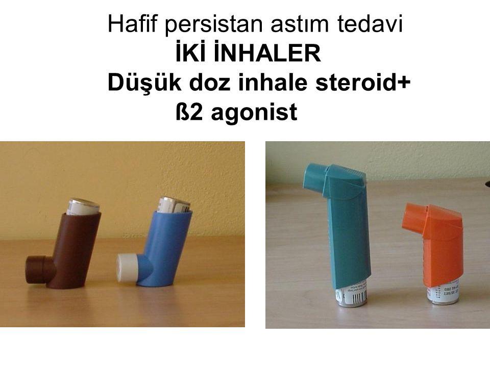 DÜŞÜK DOZ İNHALE KORTİKOSTEROİD BUDESONİD 200-400 µg Pulmicort inhaler® (50µg/200µg.) Pulmikort turbuhaler ® (100 µg) Giona toz inhaler ® (100 µg / 200 µg ) Miflonide (200 µg kapsül) İnflacort inhaler ® (50 µg/ 100 µg.) İnflacort kapsül ® ( 100 µg /200 µg ) FLUTİKAZONE PROPİONAT 100-200 µg Flixotide inhaler ® (50 µg/ püsk.) NIH Expert Panel Report 2007