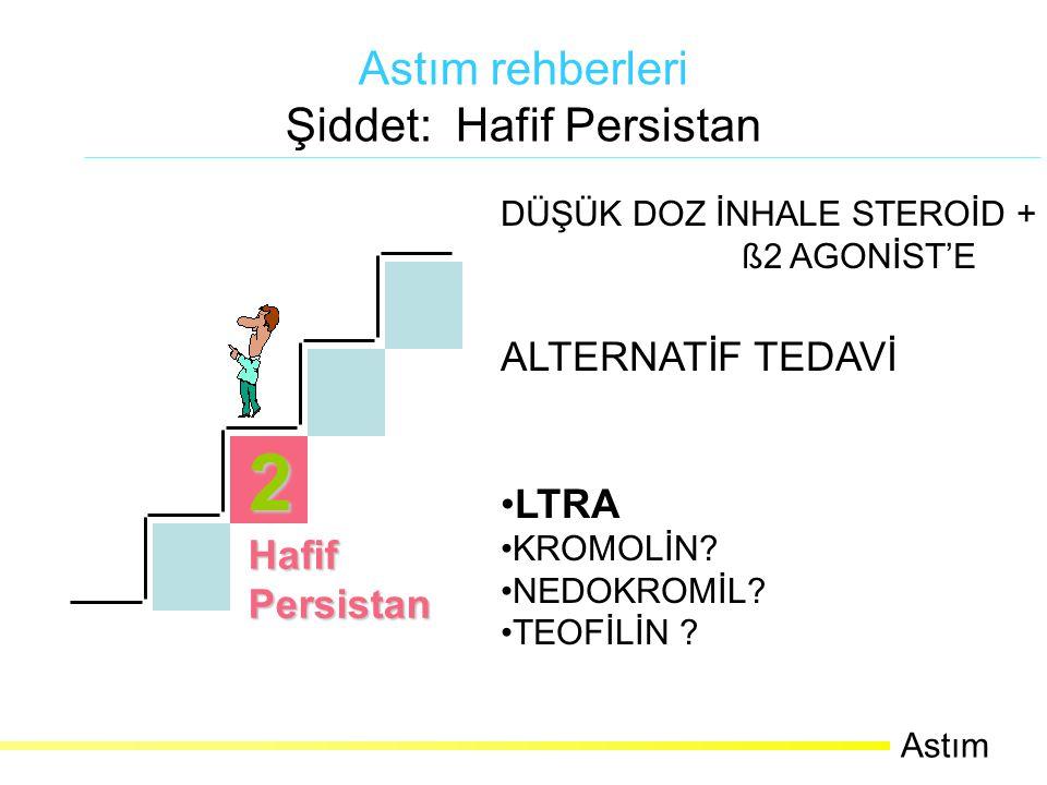 3 OrtaPersistan Astım Rehberleri Şiddet: Orta Persistan Astım Günlük astım semptomlarının varlığı Haftada birden fazla gece semptomu Günlük kısa etkili ß2 agonist kullanımı Ataklar hastanın aktivitesini engeller Atak sayısı haftada >2 ve semptomlar uzun sürer FEV1 ya da PEF % 60-80 PEF varyasyonu > % 30