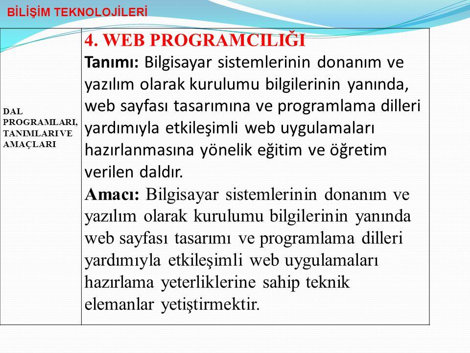 DAL PROGRAMLARI, TANIMLARI VE AMAÇLARI 4. WEB PROGRAMCILIĞI Tanımı: Bilgisayar sistemlerinin donanım ve yazılım olarak kurulumu bilgilerinin yanında,