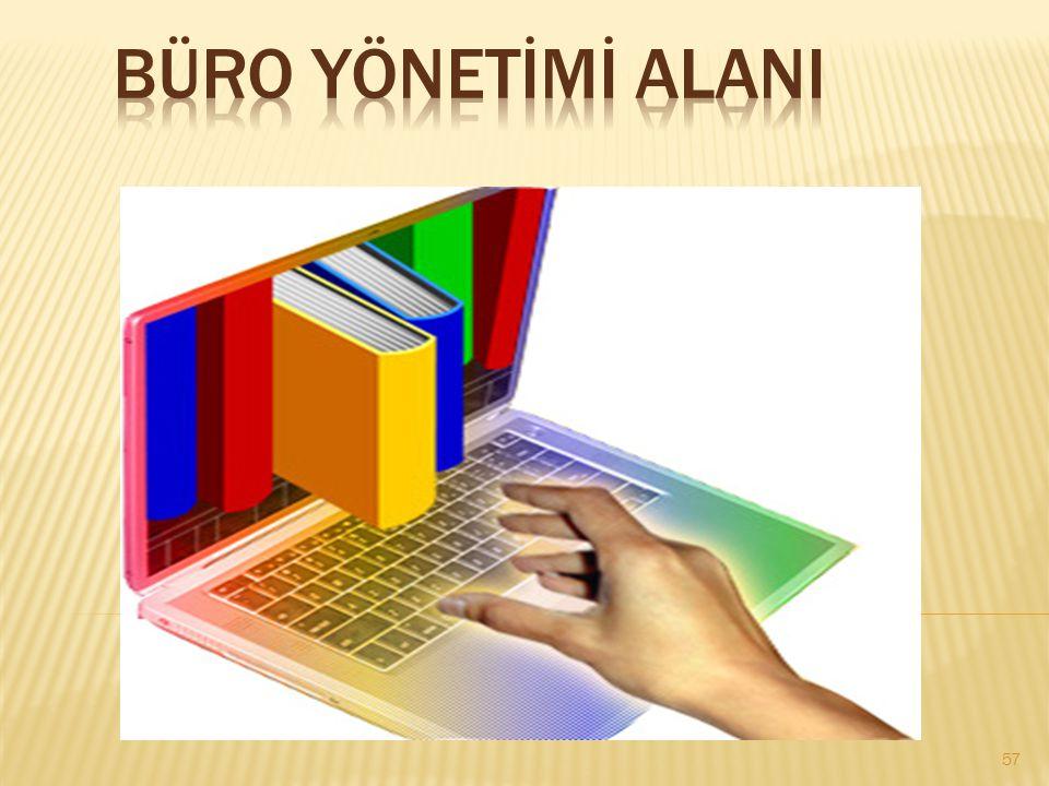  Büro Yönetimi Alanının altında yer alan dalların yeterliklerini kazandırmaya yönelik eğitim ve öğretim verilen alandır.