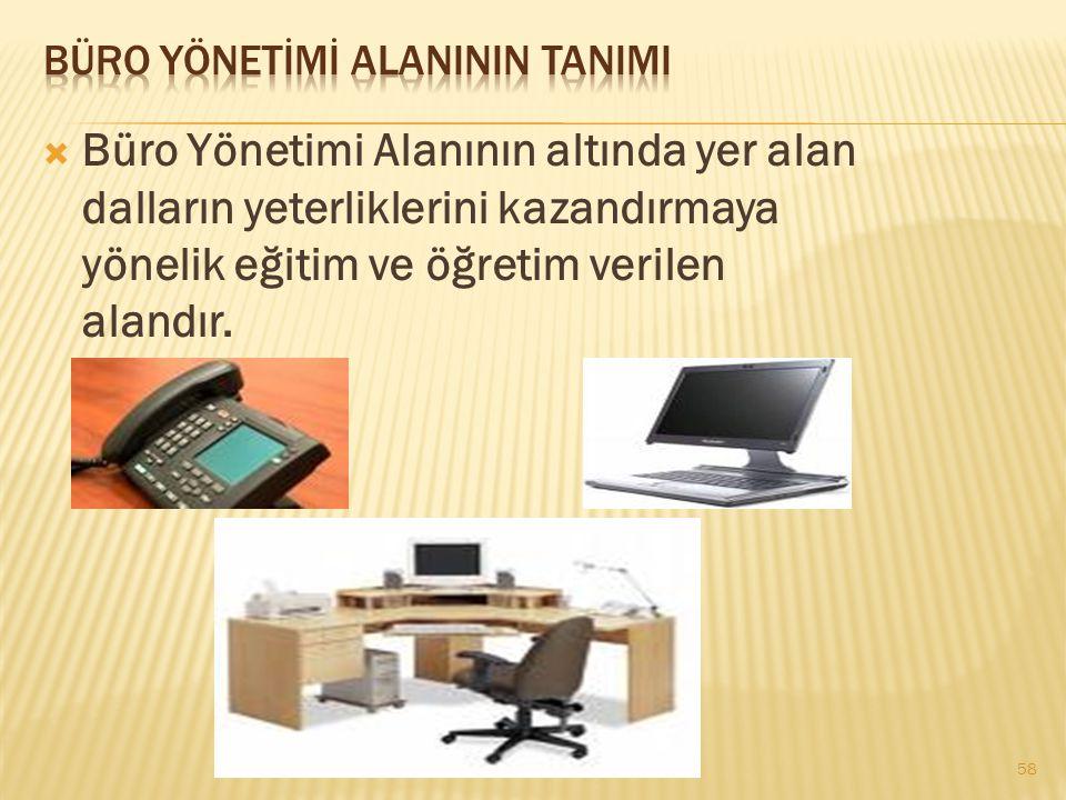  Büro Yönetimi Alanının altında yer alan dalların yeterliklerini kazandırmaya yönelik eğitim ve öğretim verilen alandır. 58