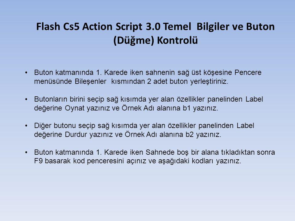 Flash Cs5 Action Script 3.0 Temel Bilgiler ve Buton (Düğme) Kontrolü Buton katmanında 1.