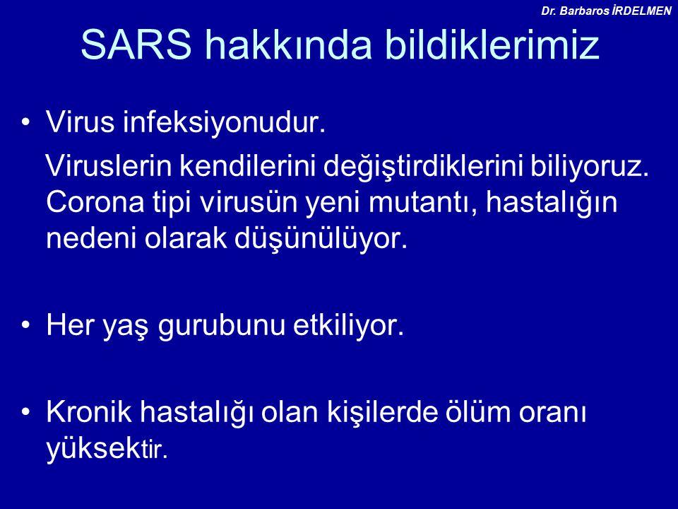 SARS hakkında bildiklerimiz Virus infeksiyonudur.