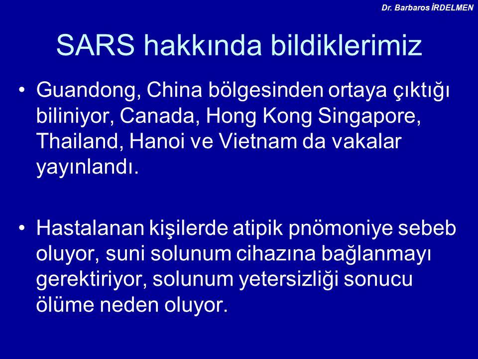 SARS hakkında bildiklerimiz Guandong, China bölgesinden ortaya çıktığı biliniyor, Canada, Hong Kong Singapore, Thailand, Hanoi ve Vietnam da vakalar yayınlandı.