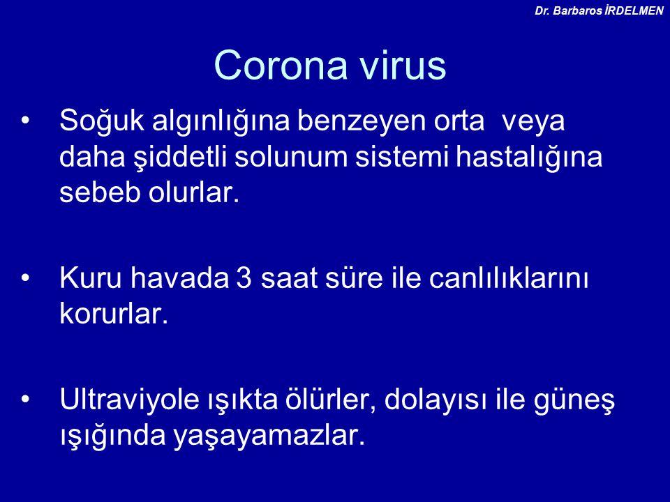 Corona virus Soğuk algınlığına benzeyen orta veya daha şiddetli solunum sistemi hastalığına sebeb olurlar.