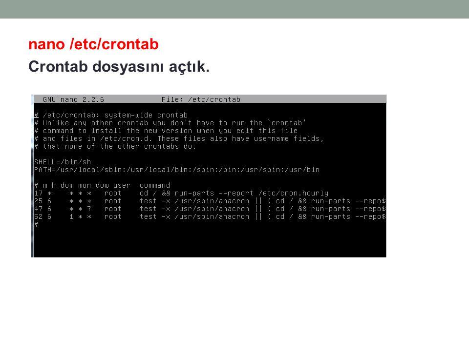 nano /etc/crontab Crontab dosyasını açtık.