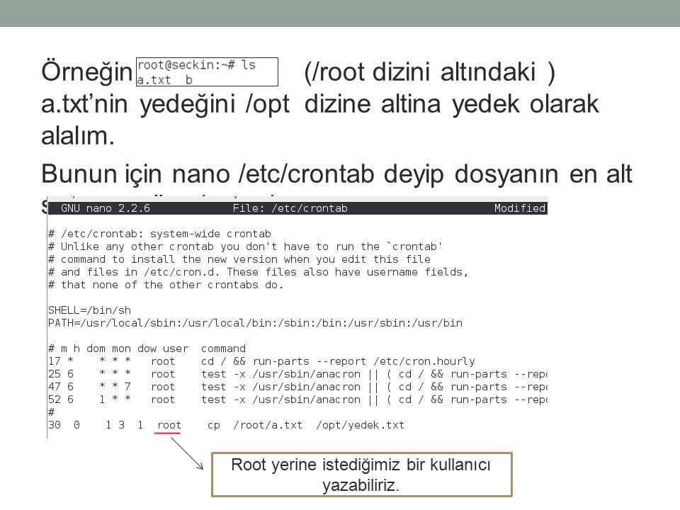 Örneğin (/root dizini altındaki ) a.txt'nin yedeğini /opt dizine altina yedek olarak alalım.