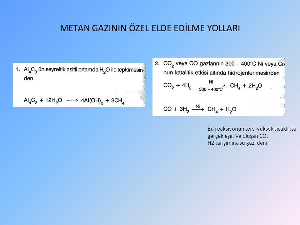METAN GAZININ ÖZEL ELDE EDİLME YOLLARI Bu reaksiyonun tersi yüksek sıcaklıkta gerçekleşir.