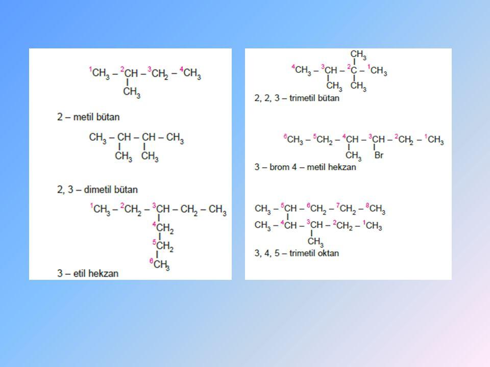 HALKALI ALKANLARDA ADLANDIRMA Halkaya bağlı olan gruplara en küçük numara gelecek şekilde karbonlar numaralandırılır.