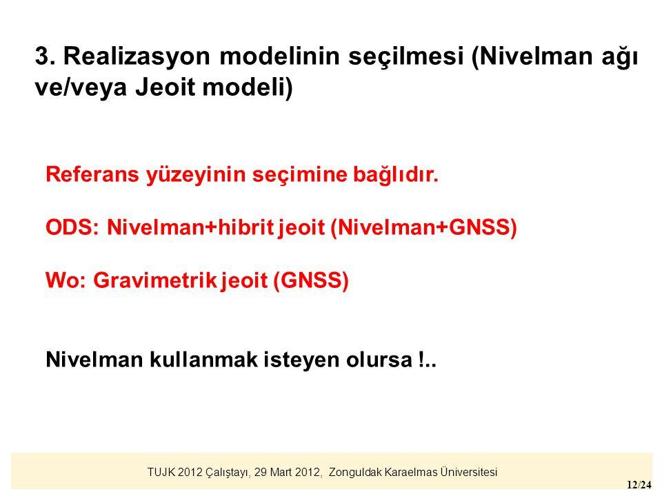 TUJK 2012 Çalıştayı, 29 Mart 2012, Zonguldak Karaelmas Üniversitesi 12/24 Referans yüzeyinin seçimine bağlıdır. ODS: Nivelman+hibrit jeoit (Nivelman+G