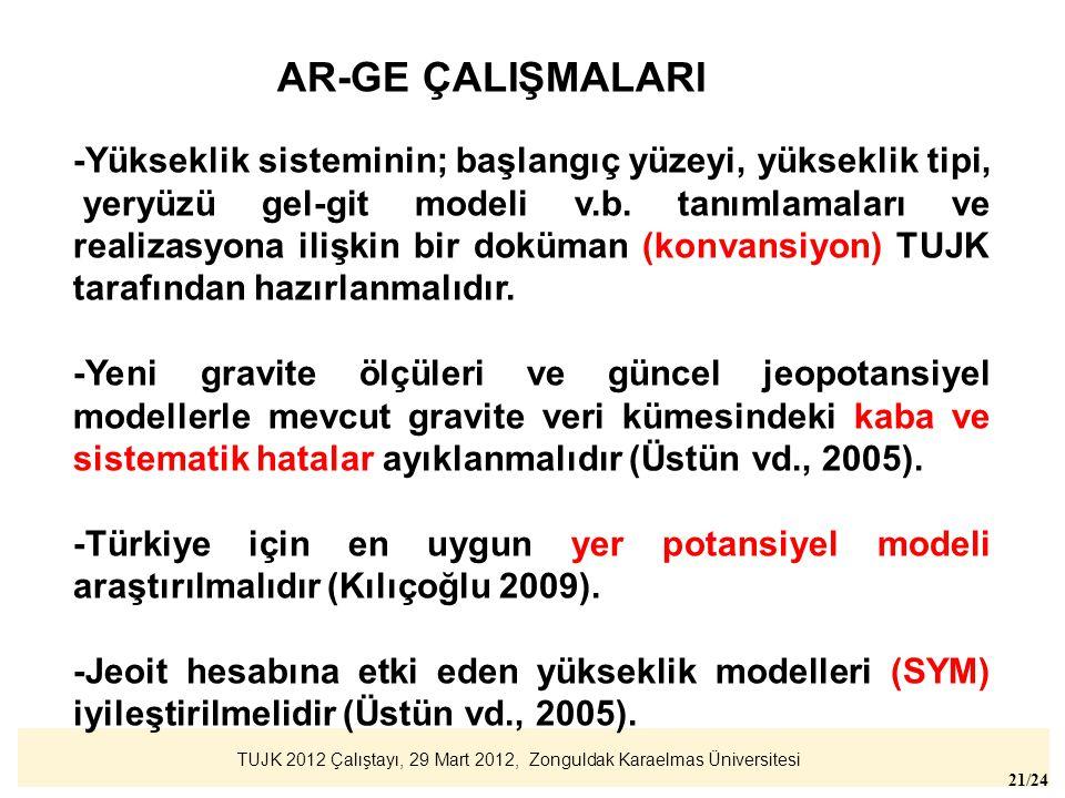TUJK 2012 Çalıştayı, 29 Mart 2012, Zonguldak Karaelmas Üniversitesi 21/24 AR-GE ÇALIŞMALARI -Yükseklik sisteminin; başlangıç yüzeyi, yükseklik tipi, y