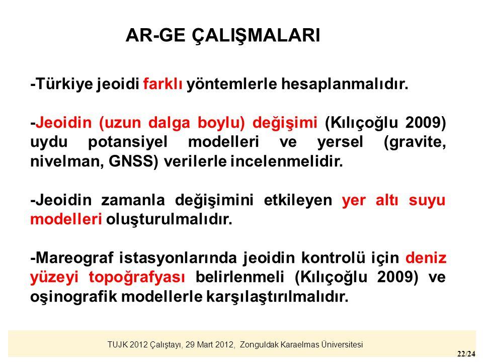 TUJK 2012 Çalıştayı, 29 Mart 2012, Zonguldak Karaelmas Üniversitesi 22/24 AR-GE ÇALIŞMALARI -Türkiye jeoidi farklı yöntemlerle hesaplanmalıdır. -Jeoid
