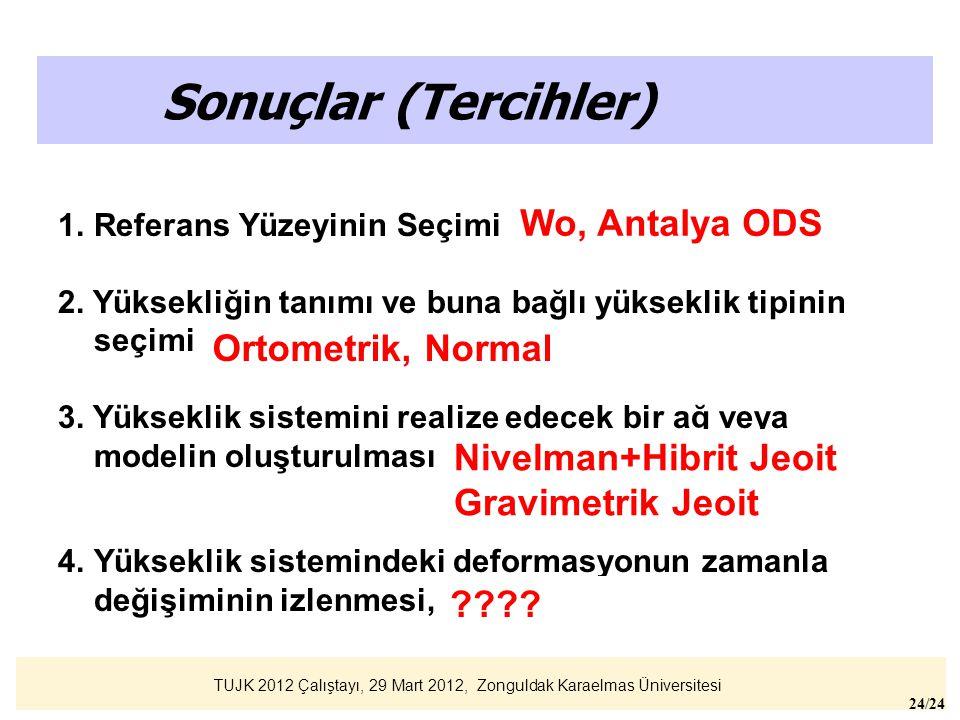 TUJK 2012 Çalıştayı, 29 Mart 2012, Zonguldak Karaelmas Üniversitesi 24/24 Sonuçlar (Tercihler) 1.Referans Yüzeyinin Seçimi (Wo (jeoit) veya ODS), 2. Y