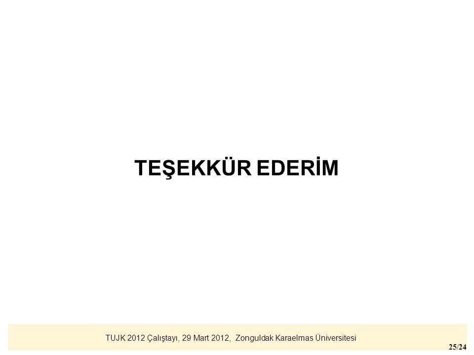 TUJK 2012 Çalıştayı, 29 Mart 2012, Zonguldak Karaelmas Üniversitesi 25/24 TEŞEKKÜR EDERİM