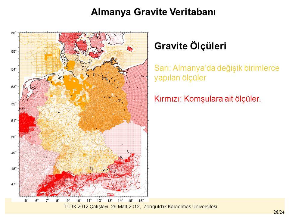 TUJK 2012 Çalıştayı, 29 Mart 2012, Zonguldak Karaelmas Üniversitesi 28/24 Gravite Ölçüleri Sarı: Almanya'da değişik birimlerce yapılan ölçüler Kırmızı