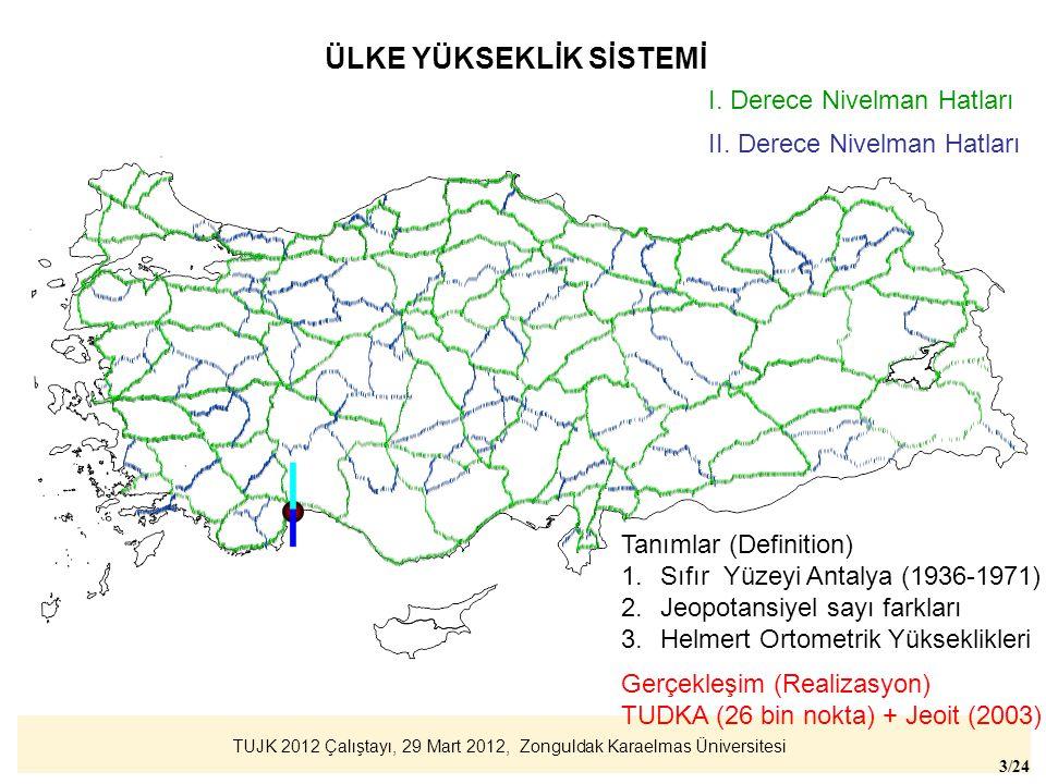 TUJK 2012 Çalıştayı, 29 Mart 2012, Zonguldak Karaelmas Üniversitesi 3/24 ÜLKE YÜKSEKLİK SİSTEMİ I. Derece Nivelman Hatları II. Derece Nivelman Hatları