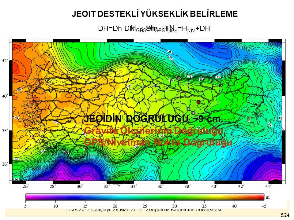 TUJK 2012 Çalıştayı, 29 Mart 2012, Zonguldak Karaelmas Üniversitesi 26/24 Modernizasyon Projesi 1.Gravimetrik jeoidin iyileştirilmesi (yersel gravite) 2.Ülke yükseklik sistemiyle daha iyi ilişkilendirilmesi (GNSS/Nivelman) PROJE 10.000 km nivelman ağı 5'x5' aralıklı gravite ölçüsü