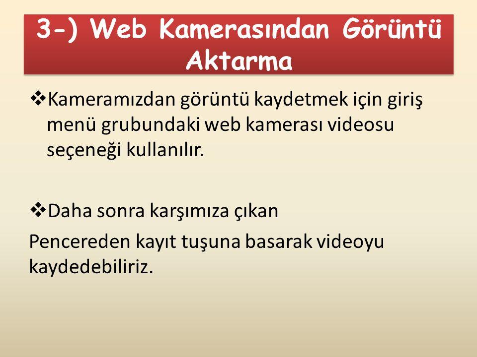3-) Web Kamerasından Görüntü Aktarma  Kameramızdan görüntü kaydetmek için giriş menü grubundaki web kamerası videosu seçeneği kullanılır.  Daha sonr