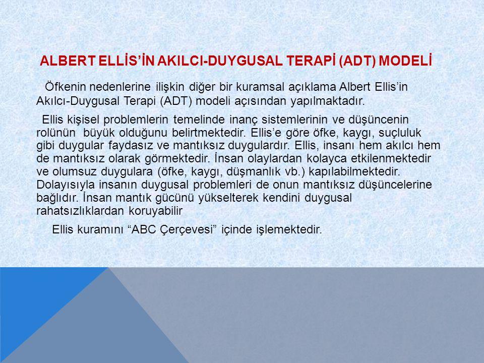 ALBERT ELLİS'İN AKILCI-DUYGUSAL TERAPİ (ADT) MODELİ Öfkenin nedenlerine ilişkin diğer bir kuramsal açıklama Albert Ellis'in Akılcı-Duygusal Terapi (AD