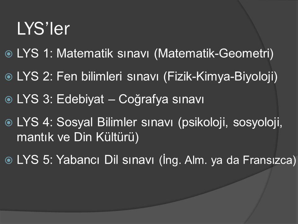 LYS'ler  LYS 1: Matematik sınavı (Matematik-Geometri)  LYS 2: Fen bilimleri sınavı (Fizik-Kimya-Biyoloji)  LYS 3: Edebiyat – Coğrafya sınavı  LYS